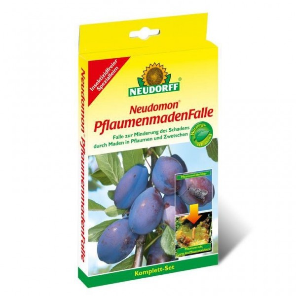 Neudomon PflaumenmadenFalle, 1 Komplettset mit Falle Leimböden und Pheromonkapseln