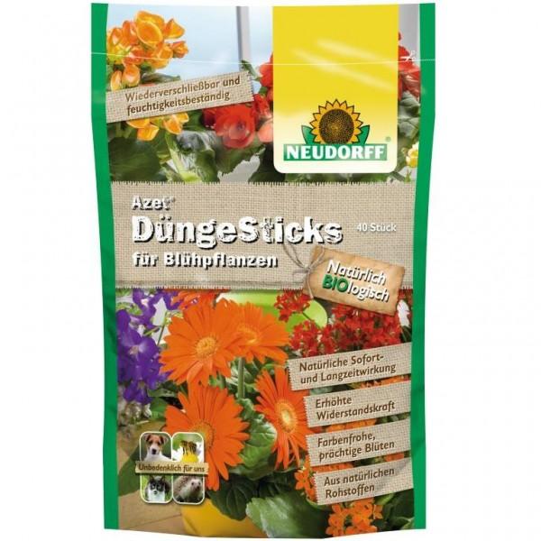 Azet DüngeSticks für Blühpflanzen Blumen Stauden natürliche Rohstoffe 40 Sticks im Standbodenbeutel