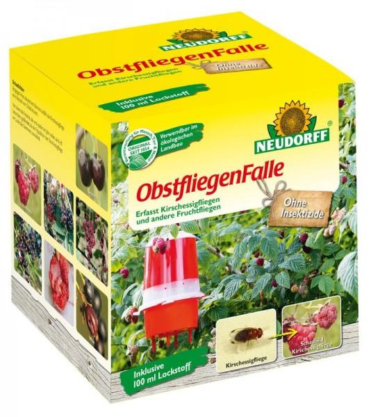 ObstfliegenFalle, 1 Fallenkörper + 100 ml Lockstoff, Schachtel, gegen Kirschessig- und Fruchtfliege
